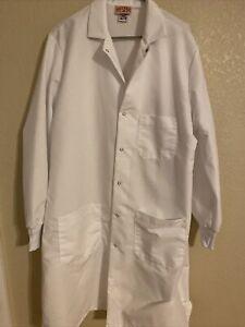 NEW White Red Kap Fisherbrand MENS Long Sleeve Lab Coat Size MEDIUM REGULAR