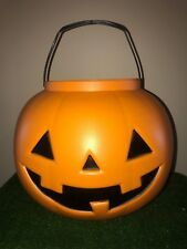 "Halloween 16"" Wide Pumpkin Blow Mold Trick-Or Treat Candy Pail With Handle"
