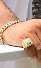1.90 Ct Diamond Engagement Pinky Ring Mens 10K Yellow Gold Round Cut Pave Band