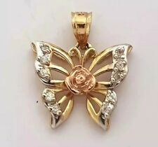 14K TRI COLOR YELLOW WHITE PINK GOLD BUTTERFLY CHARM PENDANT