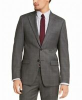 Calvin Klein Mens Blazer Gray Size 40 Long Plaid Print Slim Fit Wool $400 #340