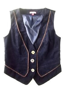 Ladies waistcoat Joe Browns Size 10 Navy blue Ribbon tie back Good con Xmas VR2