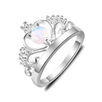 Classic Gift Round White Fire Opal Gem Sterling Silver Crown Rings US Size 7 8 9