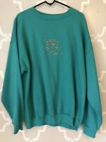 VTG 90s New Zealand Sweatshirt Top Crew Neck Teal Embroidered Women's Size XL