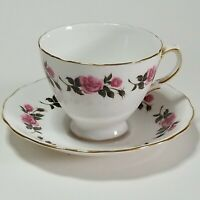 Royal Vale Ridgway Pottery Fine Bone China Tea Cup & Saucer England Pink Roses
