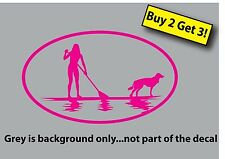 Female on Paddle Board with Dog SUP Stand Up Decal Sticker Hot Pink