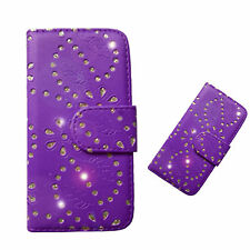 Purple Jewel pu leather wallet case cover for iphone 5c & screen protector