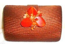 Straw Sand Clutch Flower Bag Purse Handbag NEW Beaded Brown Handbag Chain Only 1