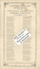 1850 BROADSIDE CENTENNIAL CELEBRATION BEDFORD NEW HAMPSHIRE MUSIC 100 YEARS AGO