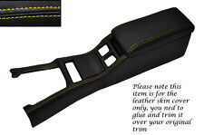 YELLOW  STITCH CENTRE CONSOLE COVER&ARMREST LEATHER COVERS FITS TOYOTA SUPRA MK3
