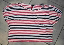 511  Divided H&M Coral Pink & Black Striped Cropped T-Shirt Top 2 M