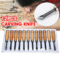 12PCS Wood Carving Tools Hand Chisel Kit Woodcut Arts Woodworking Tool Crafts