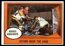1961 62 TOPPS HOCKEY 21 ACTION NEAR THE CAGE MURRAY BALFOUR BRUINS V BLACK HAWKS