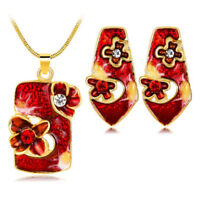Wine Red Jewellery Set of Earrings and Pendant Poppy Flowers Necklace S963