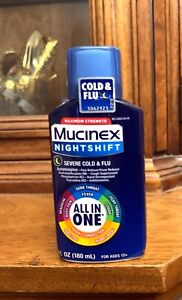 Mucinex NightShift Severe Cold & Flu Night Time Liquid Syrup 6oz EXP 7/2022