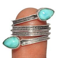 Genuine Larimar - Dominican Republic 925 Silver Jewelry Ring s.8 BR11770  XGB