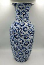 Grand Vase ballustre style chinois ou Japon fleur cerisier lotus bleu blanc
