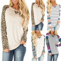 Womens Leopard Print Camo Long Sleeve Loose T-Shirt Tops Casual Blouse Plus Size