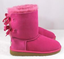 UGG BAILEY BOW Suede Classic Short Boots YOUTH  4  WOMEN'S  6 PINK