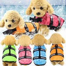 Reflective Stripe Safety Vest Dog Pet Life Jacket Swim Summer Flotation pPet uk