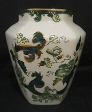 "Masons Ironstone 6"" Hexagonal Vase 'Chartreuse' Pattern, Excellent Condition"