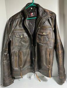Mens Biker Vintage Style Motorcycle Distressed Brown Leather Jacket