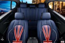 For Nissan Blue PU Leather Luxury Full Set Car Seat Covers Union Jack Uk Flag