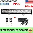 20'' 126W LED Work Light Bar Offroad Boat Truck Lamp Spot Flood Combo Wiring kit