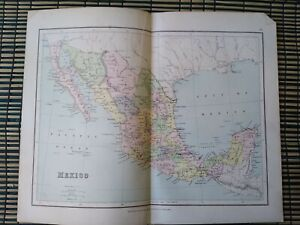 Mexico - Vintage Map Extracted from Phillips' Student's Atlas c-1890s