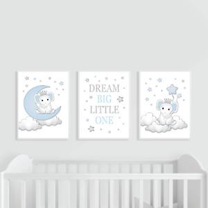 Elephant Nursery Prints Set of 3 Blue Baby Boy, Dream Big, Moon & Stars Bedroom