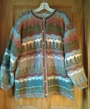 Vintage 1990s ICELANDIC DESIGN Wool Brass Button Lined Sweater  Jacket Large
