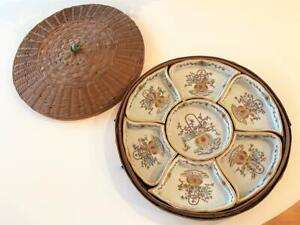 Nippon Antique E-Oh China Sweet Meat 9 Pc Dish Set Woven Basket Gold Trim TE-OH