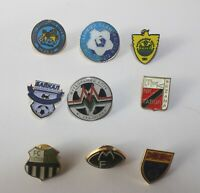 Football Badges 9 Pins From Eastern Europe Countries Russia Cyrilic Vintage Club