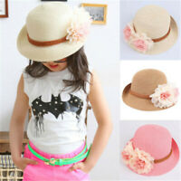 Flower Outdoor Sunscreen Sun Hat Beach Cap Girls Straw HatFor Age 2-7 Year