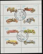 State of Oman sheet of 8 Antique Car Stamps, Peugeot, CTO Trucial State bogus