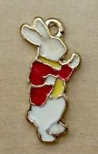 White Rabbit Gold Colour Necklace Charm Red Jacket Lolita Gift 1cm x 2cm
