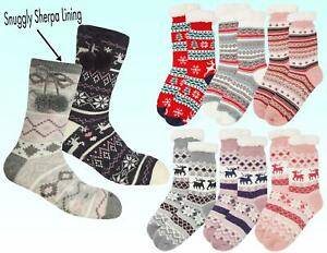 Soft Sherpa Lined Fairisle Winter Cosy Slipper Socks with Grippers