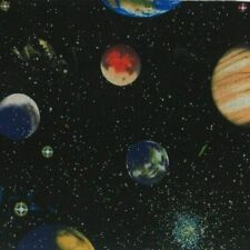 Nutex Fabric - Solar System Glitter - Planet Panel 60cm - 100% Cotton