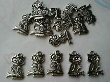 15 X Buho de Plata Tibetana Dijes/Colgantes