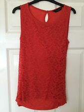 Ladies Bright Red Dorothy Perkins Sleeveless Lace Top Size 12 New