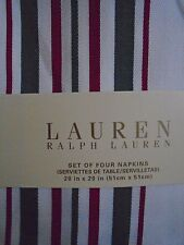 NEW RALPH LAUREN CHRISTMAS NOEL STRIPE GREEN RED SET OF 8  NAPKINS
