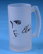 Elvis Presley Coffee Cup Mug Silhouette Frosted Glass Collectible Home Bar Decor