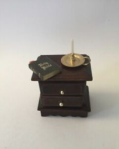 Dolls House Bedside Cabinet, With Candle Holder And Bible