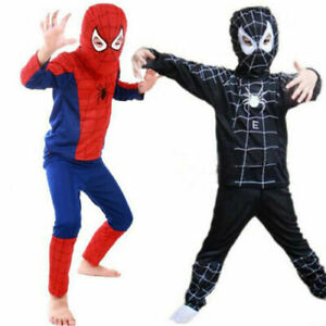 Kid's Boys Spiderman Costume Cosplay Superhero Up Outfits Clothes Fancy Dress