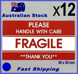 12 x 90x50mm FRAGILE HANDLE WITH CARE Self Adhesive Label - Red Warning Sticker