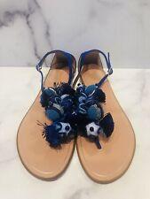 Aquazzura Tropicana Blue Suede Beaded Pom Pom T-Strap Flat Sandals Shoes
