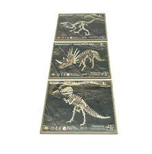 Set Of 3 Wooden Wood Craft Dinosaur 3D Puzzle Models Toys