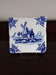 Dutch Delft tile Windmill & Boats Circa 1900