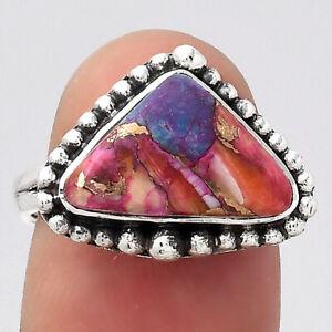 Kingman Orange Dahlia Turquoise 925 Sterling Silver Ring s.7 Jewelry 8506
