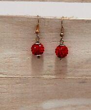 ORECCHINI pendenti sfere con cristalli rosso monachelle color argento